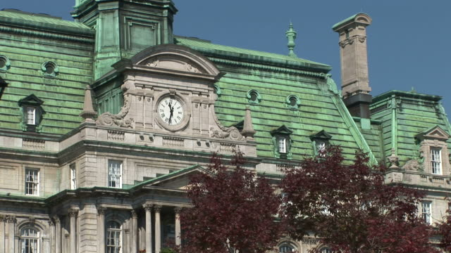 view of tourist at montreal city hall in montreal canada - hotel de ville montreal stock videos & royalty-free footage