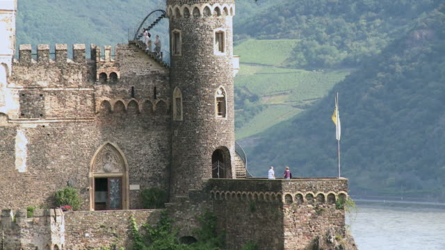 ws zo view of tourist at rheinstein castle / rhine-valley, rhineland-palatinate, germany - plant attribute stock videos and b-roll footage