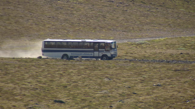 WS AREAIL View of Tourist buses moving on Thorsmork area / Iceland