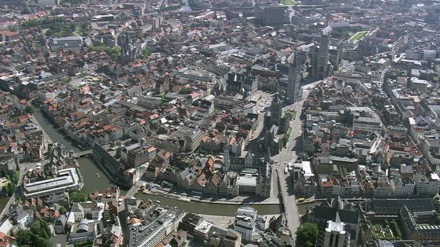 MS AERIAL ZI ZO PAN View of tourist roaming in Gravensteen Castle at Ghent city / Flanders, Belgium
