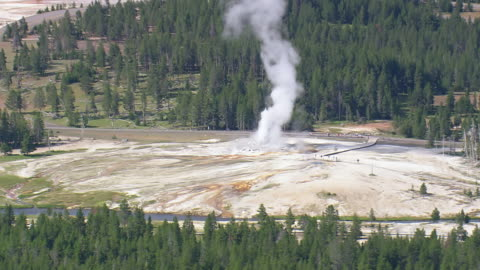 ws aerial view of tourist watching old faithful grotto geyser with trees / wyoming, united states - geyser stock videos & royalty-free footage