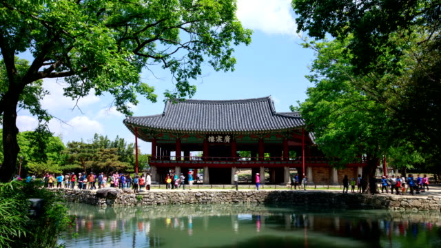 view of tourists at kwanghan-nu palace - nu stock videos & royalty-free footage