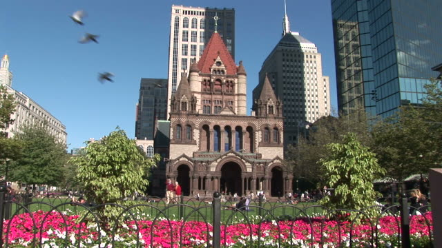 View of tourists at Trinity Church in Boston United states