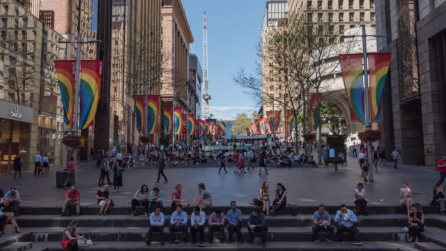 View of tourists enjoying Martin Place (Town Square; Famous Travel Destinations)