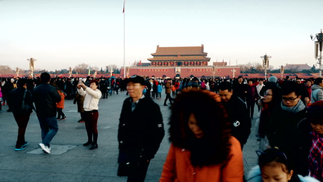 view of tourists in tiananmen square ,beijing, china - scratched stock videos & royalty-free footage