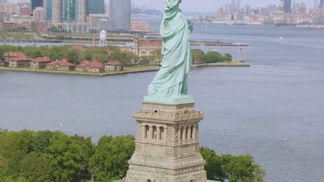 MS AERIAL DS ZO View of tourists on balcony of Statue of Liberty at Liberty island / New Jersey, United States