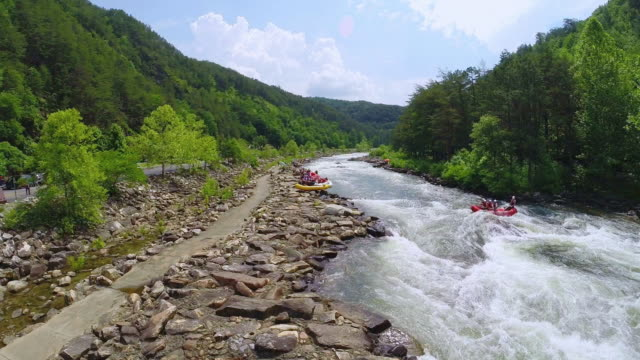 ws ha view of tourists whitewater rafting on river in duck town / ocoee, tennessee, united states - whitewater rafting stock videos & royalty-free footage