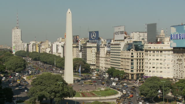 view of tower in buenos aires, argentina - avenida 9 de julio stock videos & royalty-free footage