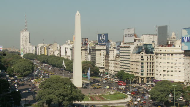 view of tower in buenos aires, argentina - avenida 9 de julio video stock e b–roll