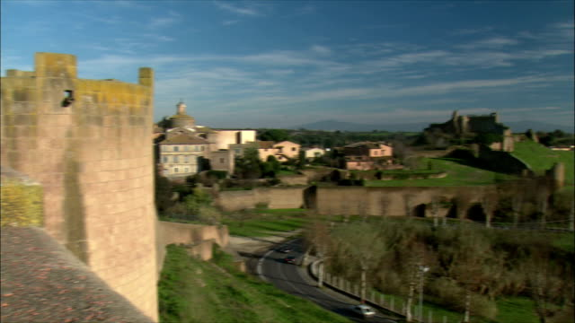 WS PAN View of town and ruins of Tuscania (in the Lazio region) in winter / Various, Tuscany, Italy