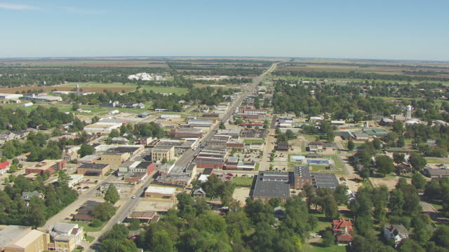 WS AERIAL View of town buildings and streets / Kennett, Missouri, United States