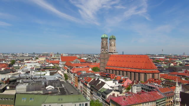 WS HA View of town center with Frauenkirche and new town hall / Munich, Bavaria, Germany