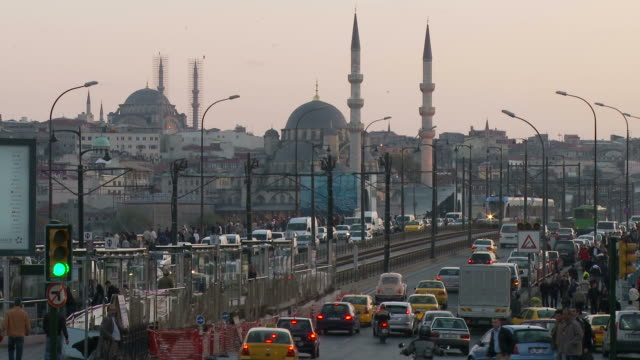 view of town in istanbul turkey - yeni cami mosque stock videos and b-roll footage