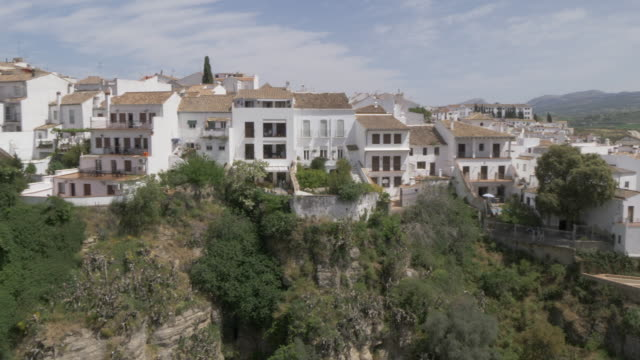 View of town, Jardines De Cuenca and countryside from South Ronda, Ronda, Andalucia, Spain, Europe