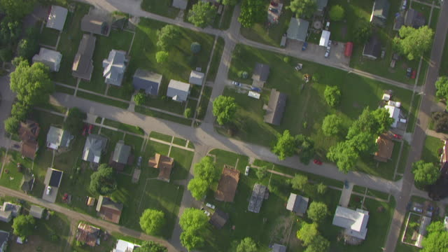 ws aerial pov view of town / louisa county, iowa, united states - midwest usa stock videos & royalty-free footage