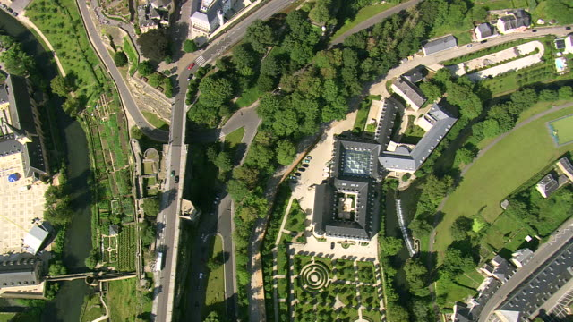 ms aerial ds view of town / luxembourg - luxembourg benelux stock videos & royalty-free footage