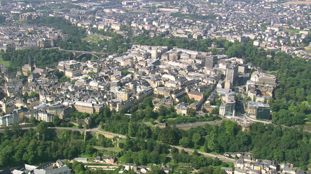 ms aerial pan zi zo view of town / luxembourg - luxembourg benelux stock videos & royalty-free footage