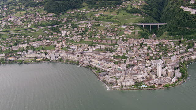 ws aerial view of town montreux near coast / vaud, switzerland - montreux stock videos and b-roll footage