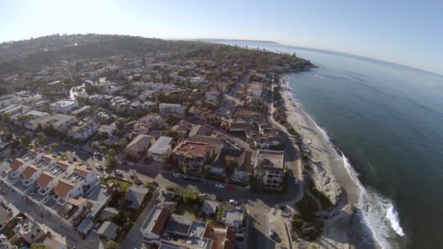 WS AERIAL View of town near windandsea beach la jolla / San Diego, California, United States