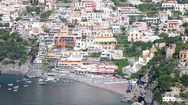 WS View of town on amalfi coast / Positano, Campania, Italy