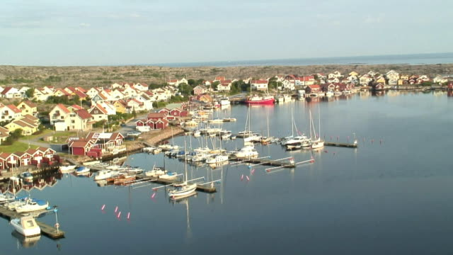 WS HA View of town with boats moored at marina / Smogen, Tjorn Island, Bohuslan, Sweden