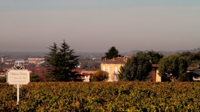 vidéos et rushes de ws pan view of town with romanesque church with vineyards in foreground / st emilion, aquitaine, france - aquitaine