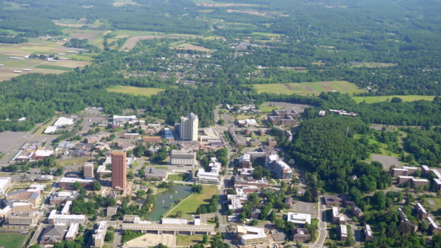 WS AERIAL POV View of townscape / Amherst, Massachusetts, United States