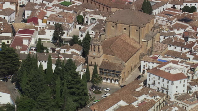 WS ZO POV AERIAL View of townscape / Ronda, Andalusia, Spain
