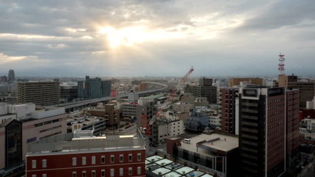view of toyama city in toyama, japan - toyama prefecture stock videos and b-roll footage