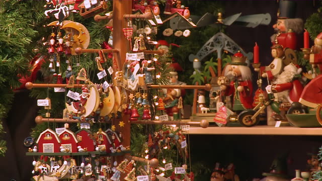 ms view of toys and gifts at market shop / rothenburg o.d. tauber, bavaria, germany - rothenburg stock videos and b-roll footage