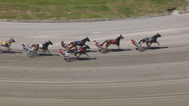 WS AERIAL ZI View of track harness race start at Freehold Raceway / New Jersey, United States