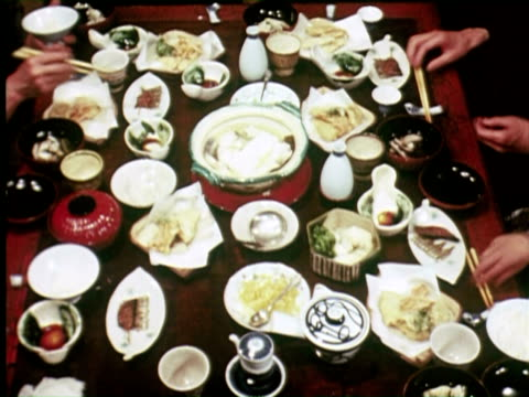 montage view of tradional family dinner, tokyo, japan / audio - 1960 stock videos & royalty-free footage
