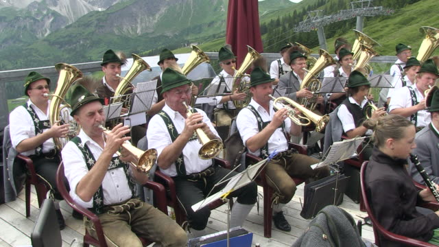 MS View of traditional band at fellhorn / Oberstdorf, Bavaria, Germany