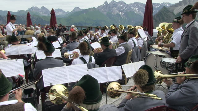 WS View of traditional band at fellhorn / Oberstdorf, Bavaria, Germany