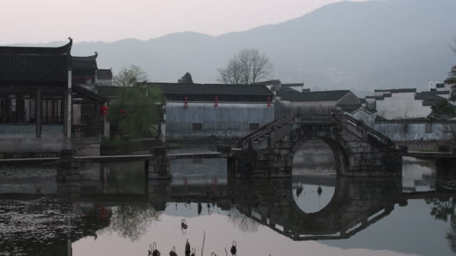 a view of traditional chinese villageschengkan on april 2 2017 in huangshan china chengkan is one of the most famous hui cultute villages which... - ancient civilization stock videos & royalty-free footage