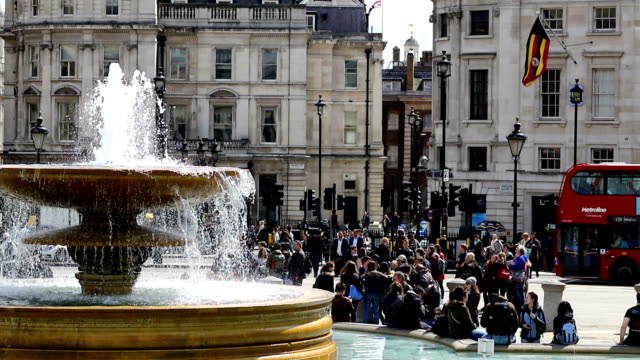 View of Trafalgar Square in central London