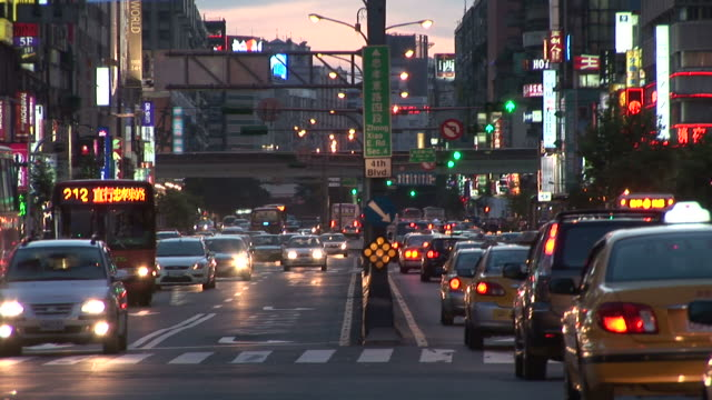 view of traffic at magic hour in taipei taiwan - taipei stock videos & royalty-free footage