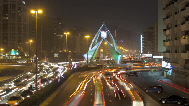 WS T/L View of traffic congestion on Al-Maktoum Road / Dubai,United Arab Emirates