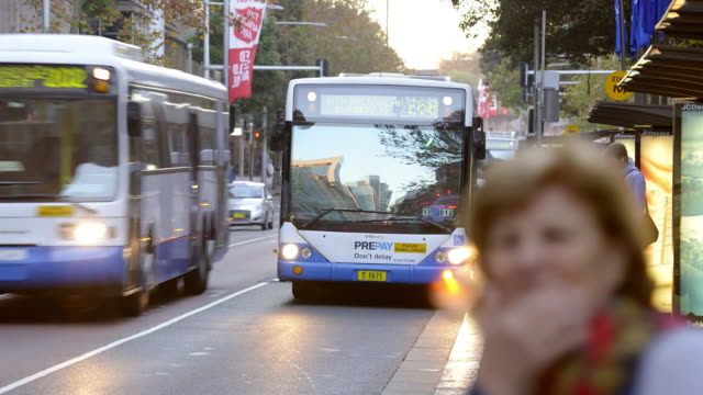 ws t/l view of traffic in city / sydney, pyrmont new south wales, australia - bus stop stock videos & royalty-free footage