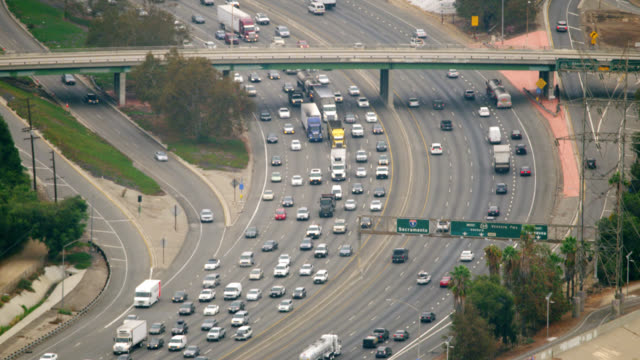 WS AERIAL View of traffic in city