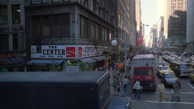 ws view of traffic jam in garment district of new york / new york city, usa - 1981 stock videos & royalty-free footage