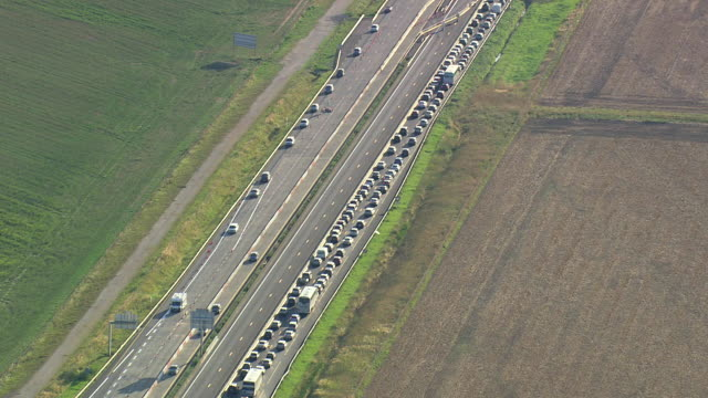 MS AERIAL ZO View of Traffic jam on A4 Motorway / Seine-et-Marne, France