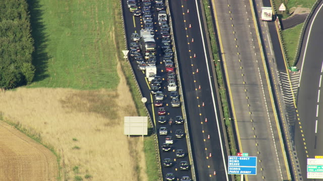 ms aerial view of traffic jam on a4 motorway / seine-et-marne, france - traffic jam stock videos & royalty-free footage