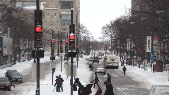 ws view of traffic lights at city street on michigan ave after blizzard / chicago, illinois, usa - michigan avenue chicago stock videos & royalty-free footage