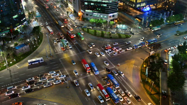 WS View of traffic moving near gangnam station intersection / Seoul, South Korea