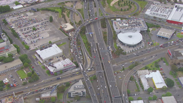 WS AERIAL View of traffic moving on bridge / Sydney, New South Wales, Australia