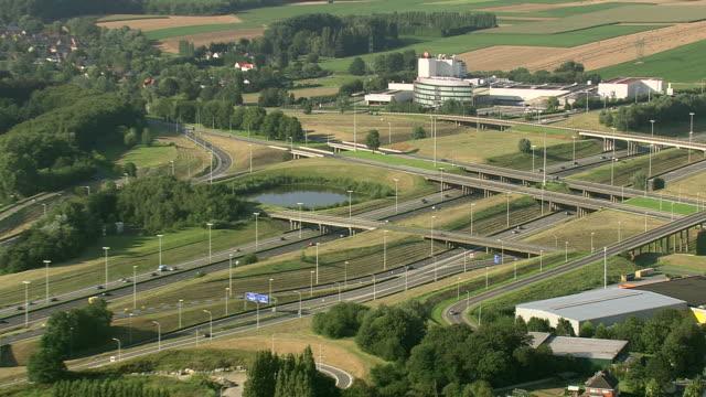 vidéos et rushes de ws aerial zi view of traffic moving on highway / brussels, belgium - belgique
