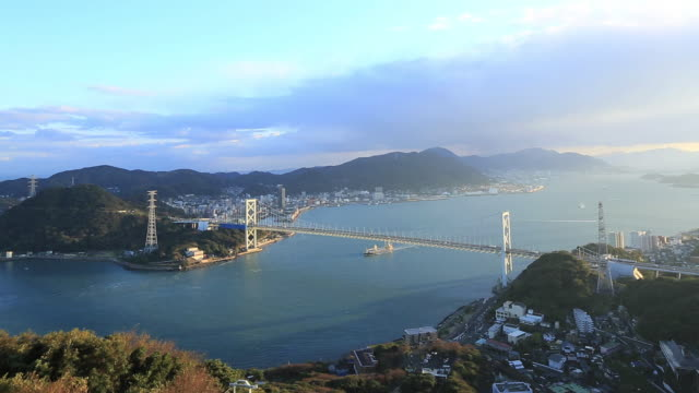 WS T/L View of traffic moving on Kanmonkyo Bridge / Yamaguchi, Yamaguchi Prefecture, Japan