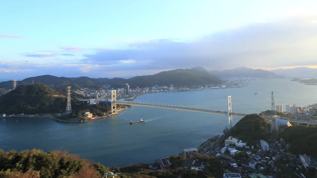 WS View of traffic moving on Kanmonkyo Bridge / Yamaguchi, Yamaguchi Prefecture, Japan