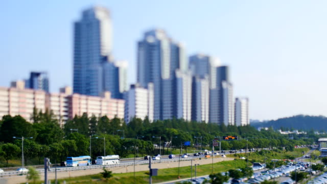 View of traffic moving on Ollimpikdaero highyway near Yeouido area